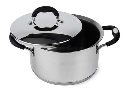 New metal cooking pot isolated on white