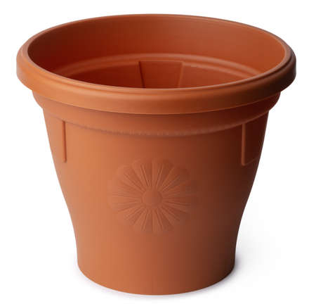 Empty plastic flowerpot isolated on white background