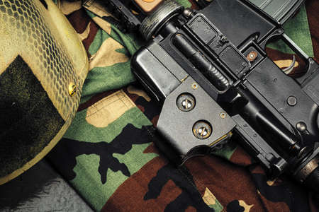 Khaki military uniform with ammunition close up