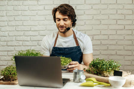 Handsome bearded man sells plant sprouts and seedlings online using laptop 版權商用圖片