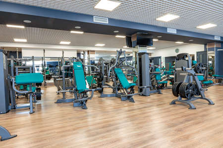 New sports equipment in a gym, nobody