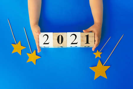 Concept of the year 2021. 2021 numbers on paper background, view from above