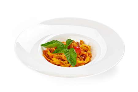 Pasta with tomato sauce isolated on white 免版税图像