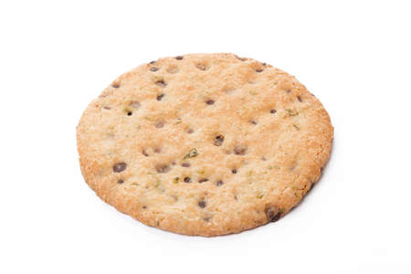 One oat baked cookie isolated on white