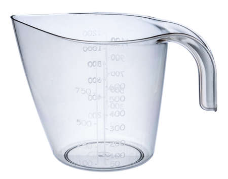 Empty beaker isolated on white background close up