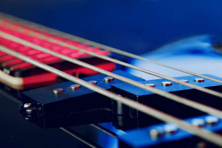 Guitar fingerboard with strings close up photo 免版税图像
