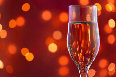 Close up photo of full Champagne glass