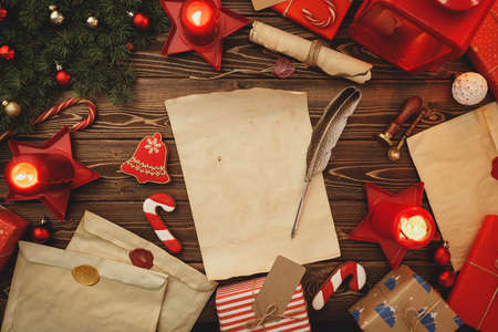 Writing a letter to Santa composiiton in vintage style Stock Photo