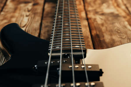 Close up photo of electric guitar fingerboard