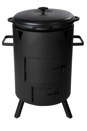Black metal barbecue grill isolated on white