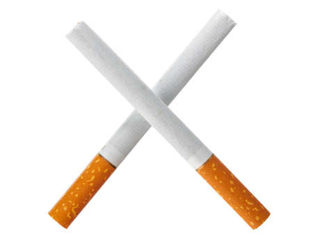 Two crossed cigarettes isolated on white background