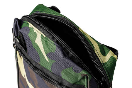Travel military bag isolated on white background