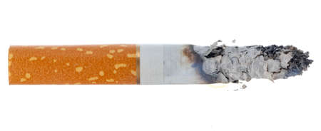 Lit cigarette isolated on white background close up