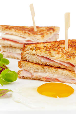 Sandwich with meat slices on white background Stock Photo