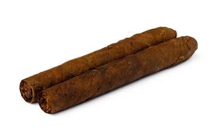 Bunch of hand rolled cigars isolated on white Archivio Fotografico