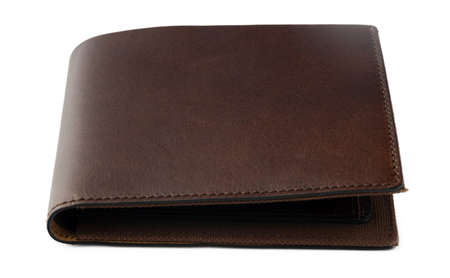 Brown shiny wallet isolated on white background Standard-Bild - 157153946