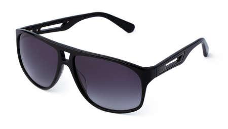 Stylish sunglasses isolated on white background, close up