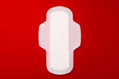 Unpacked feminine pad flat lay top view