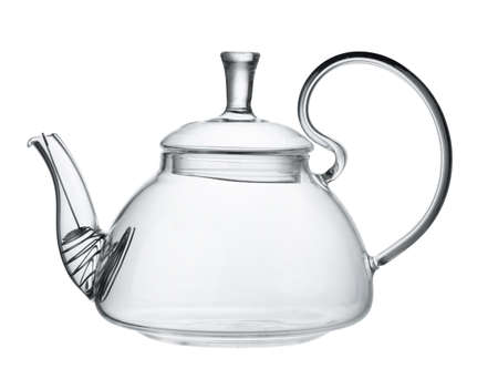 Empty glass teapot isolated on white background