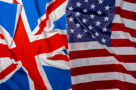 Flags of Great Britain and USA folded together