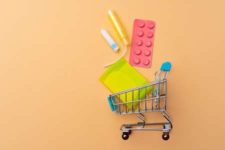 Shopping cart with medical tampons and pads