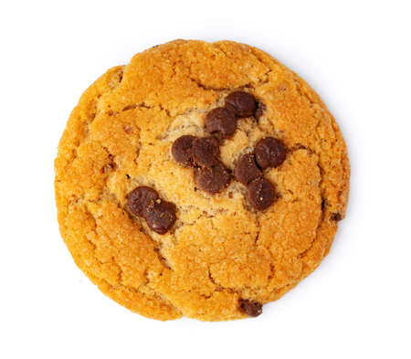 Close up of chocolate chip cookie isolated on white