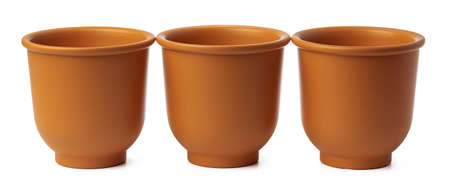 Empty ceramic brown flower pot isolated on white background