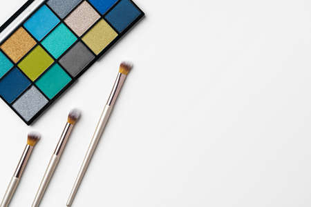 make up cosmetic palette on white background and brush