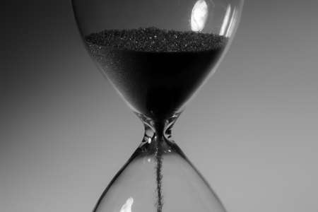 Black and white photo of hourglass close up