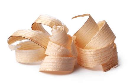 Wood shavings isolated on white background Standard-Bild