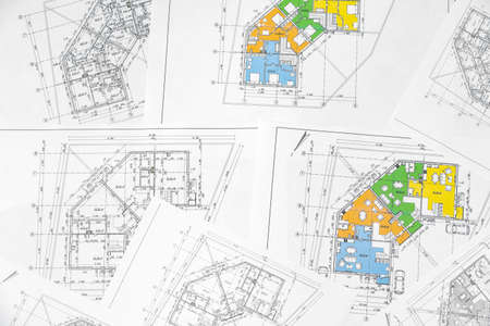 Architectural construction plans paper on table close up Stock Photo