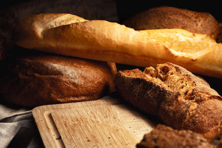 Cut bread assortment for a background, close up photo