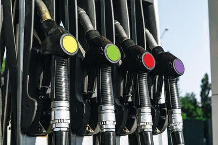 Colorul fuel gasoline dispensers on gas station