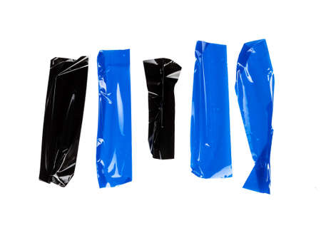 Set of Blue tapes on white background