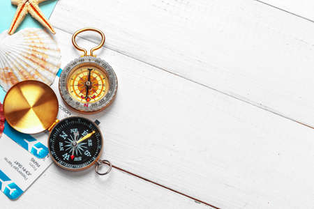Time to Travel. Idea for tourism with tickets and compass. Stock Photo