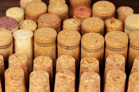 Close up of group of wine corks Stock Photo