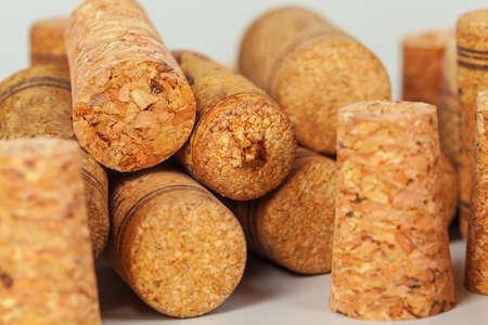 Heap of used vintage wine corks close-up