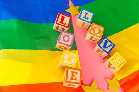 LGBT concept, text love, LGBT flag Stock Photo
