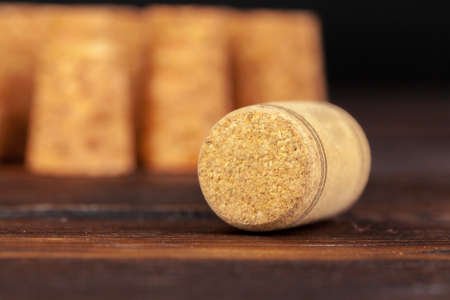 Close up of a cork wine with different variation of wine color Stock Photo