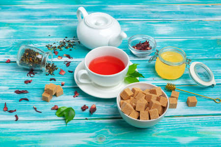 healthy herbal tea over blue background Stock Photo