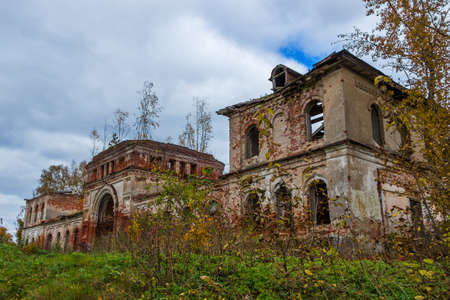 A derelict outbuilding to a dilapidated Church. The Village Of Rybinsk-Zaruchye.
