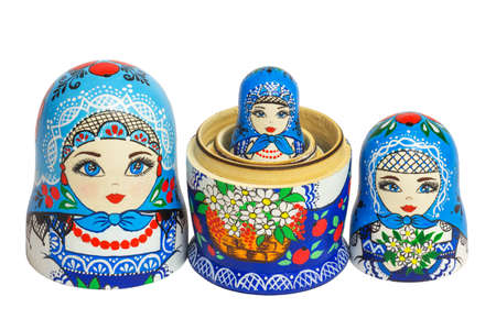 Three traditional Russian matryoshka dolls Stock Photo