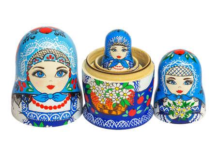 nesting: Three traditional Russian matryoshka dolls Stock Photo