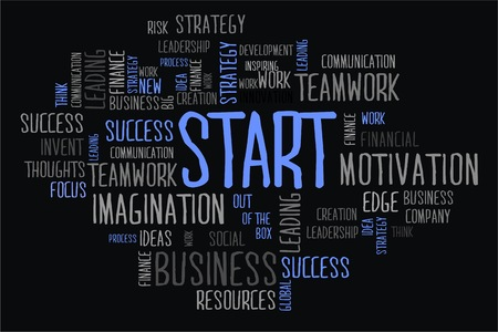 changes in equity: start word cloud concept on black background