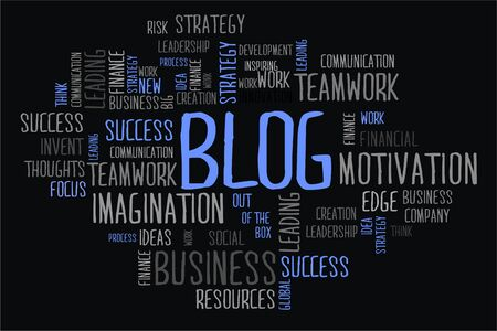 changes in equity: blog word cloud concept on black background