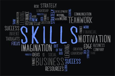 changes in equity: skills word cloud concept on black background Stock Photo