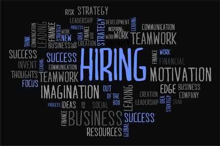 changes in equity: hiring word cloud concept on black background Stock Photo