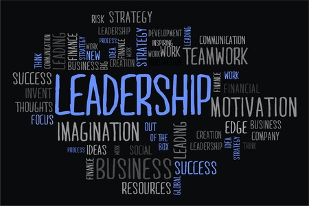 changes in equity: leadership word cloud concept on black background