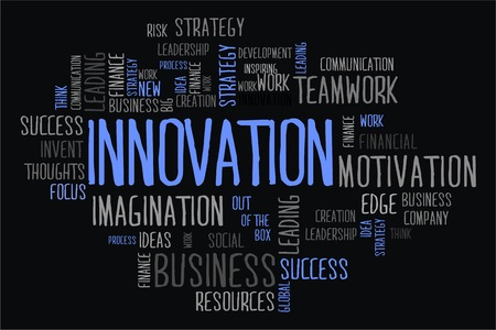 innovation word: innovation word cloud concept on black background