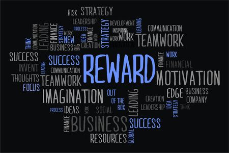 changes in equity: reward word cloud concept on black background